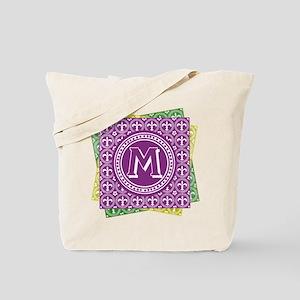Letter M Mardi Gras Fleur De Lis Monogram Tote Bag