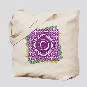 Letter O Mardi Gras Fleur De Lis Monogram Tote Bag