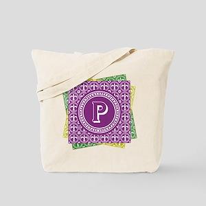Letter P Mardi Gras Fleur De Lis Monogram Tote Bag