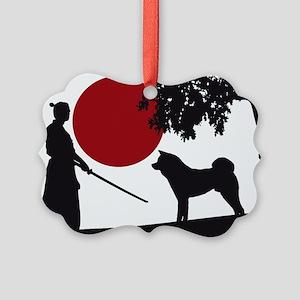 Akita Samurai Picture Ornament