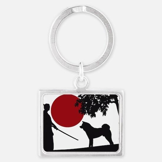 Akita Samurai Landscape Keychain