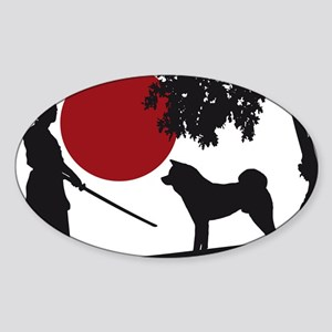 Akita Samurai Sticker (Oval)