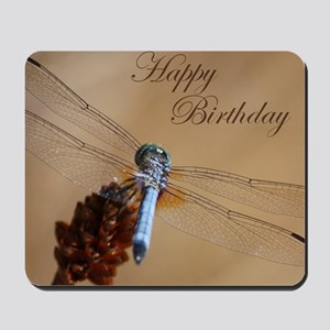 Blue Dragonfly Birthday Card Mousepad