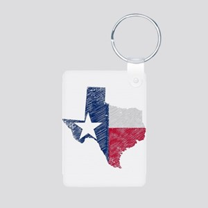 Texas Map Grunge and Flag Keychains