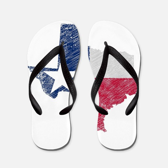 Texas Map Grunge and Flag Flip Flops