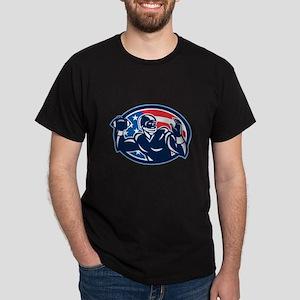 Quarterback QB Throwing Ball Retro T-Shirt