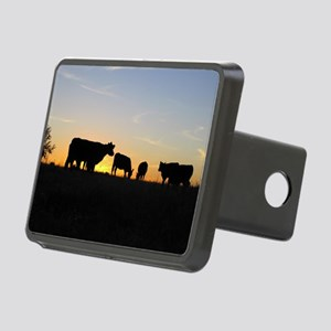 Cows at sundown Rectangular Hitch Cover
