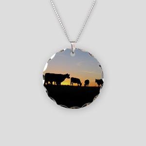 Cows at sundown Necklace Circle Charm
