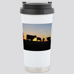 Cows at sundown Stainless Steel Travel Mug