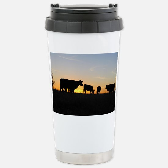 Cows at sundown Stainless Steel Travel Mug