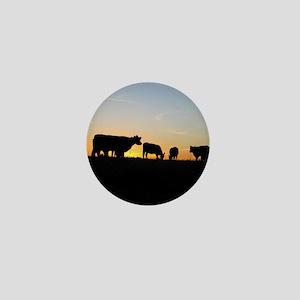 Cows at sundown Mini Button