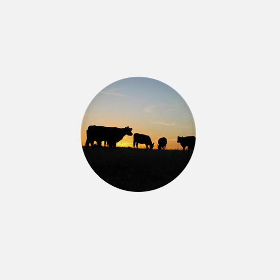 Cows at sundown Mini Button