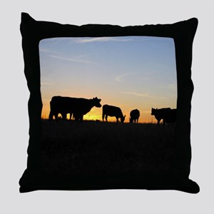 Cows at sundown Throw Pillow
