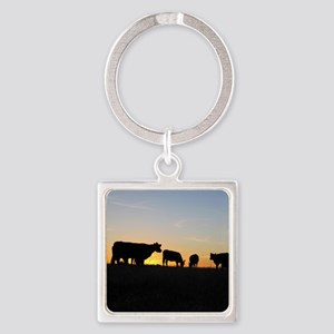 Cows at sundown Square Keychain