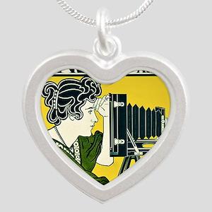 Vintage Camera Silver Heart Necklace