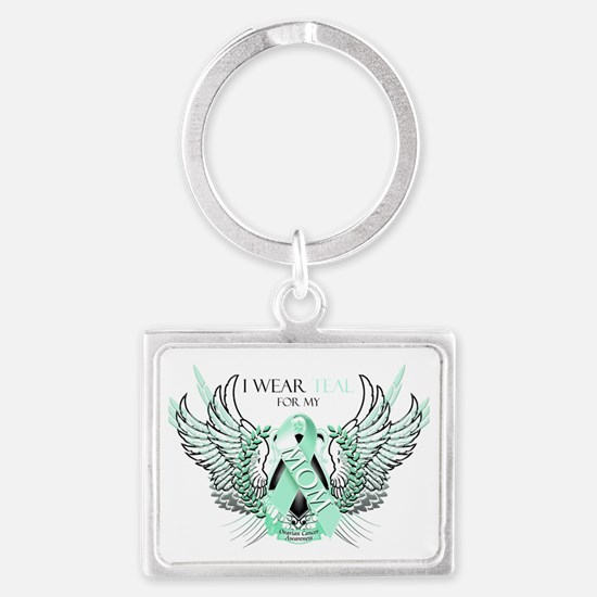 I Wear Teal for my Mom Landscape Keychain