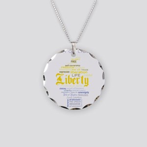 liberty_torch_word_collage Necklace Circle Charm