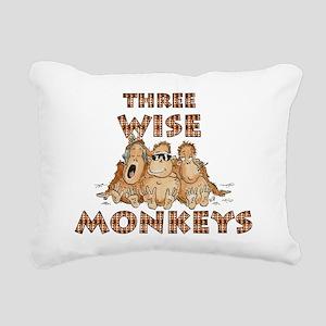 Three Wise Monkeys Rectangular Canvas Pillow