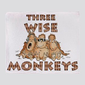 Three Wise Monkeys Throw Blanket