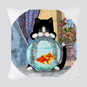 Cat Spying on Fish Woven Throw Pillow