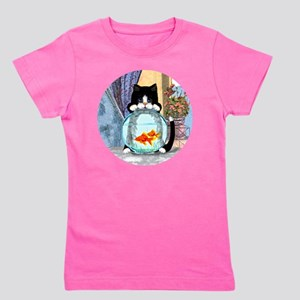 Cat Spying on Fish Girl's Tee