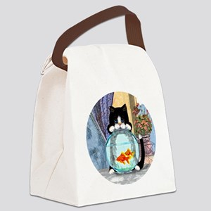 Cat Spying on Fish Canvas Lunch Bag