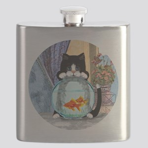 Cat Spying on Fish Flask