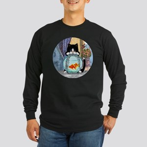 Cat Spying on Fish Long Sleeve Dark T-Shirt