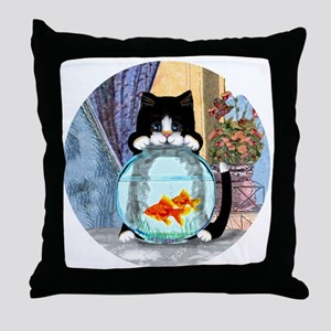 Cat Spying on Fish Throw Pillow