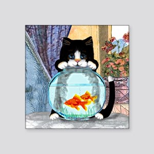 """Cat Spying on Fish Square Sticker 3"""" x 3"""""""