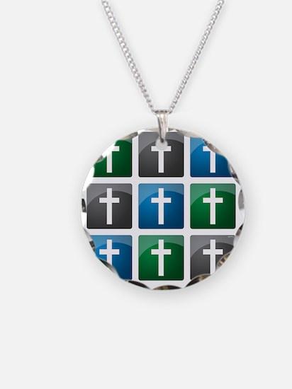 jan12_cross_grid_darker Necklace
