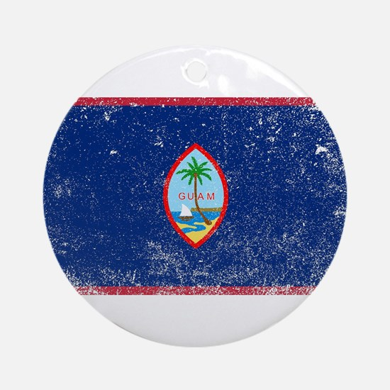 Grunge Flag Of Guam Round Ornament