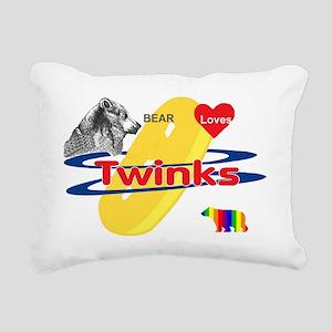 Bear Loves Twinks Rectangular Canvas Pillow