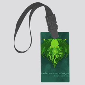 Cthulhu_vday_FRONT Large Luggage Tag