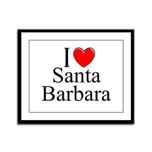 """I Love Santa Barbara"" Framed Panel Print"