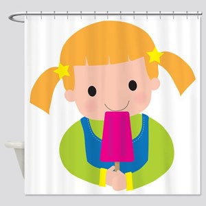 Little Girl Popsicle Shower Curtain