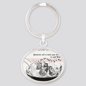 FISHTEES-4-fishes-fry Oval Keychain
