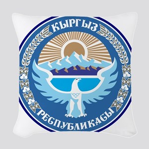 Emblem of Kyrgyzstan Woven Throw Pillow