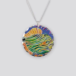 Tile Trigger fish Necklace Circle Charm