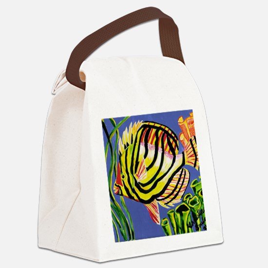 Tile tropical fish Canvas Lunch Bag