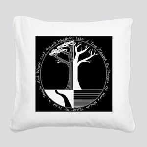 Living Tree Black Square Canvas Pillow
