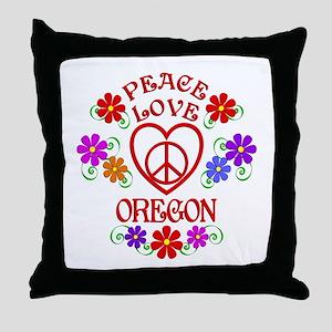 Peace Love Oregon Throw Pillow