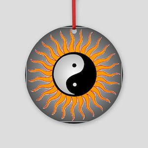 yin yang w black border Round Ornament