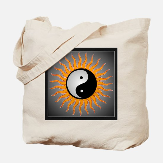 yin yang w black border Tote Bag