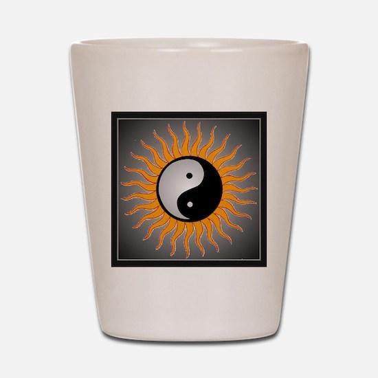 yin yang w black border Shot Glass