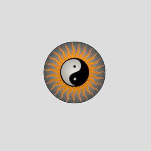 yin yang w black border Mini Button