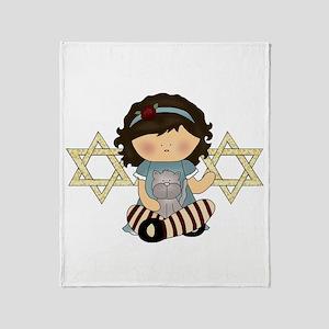 Passover Girl Matzoh Throw Blanket