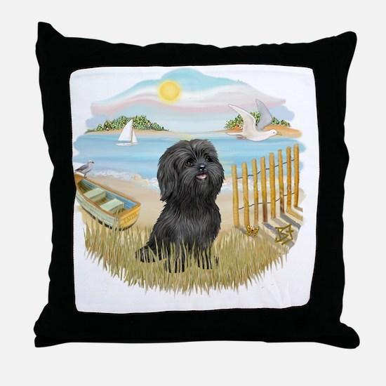 RowBoat-BlackShih Tzu Throw Pillow