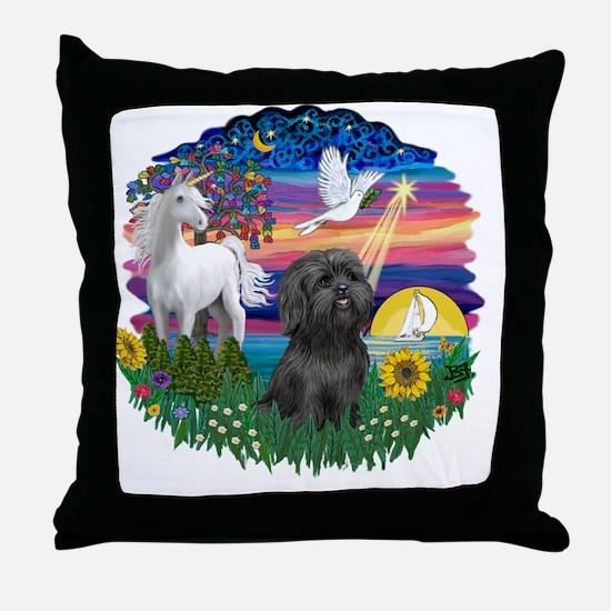 MagicalNight-Black Shih Tzu Throw Pillow