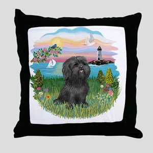 LightHouse-Black Shih Tzu Throw Pillow